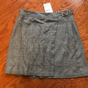 Brandy Melville John Gault Plaid Buckle Mini Skirt